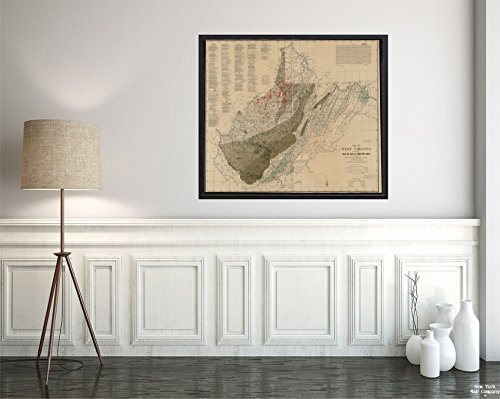1908 Map West Virginia of West Virginia Showing Coal, Oil, Gas and Limestone Areas Relief Shown by c|Vintage Fine Art Reproduction|Ready to Frame