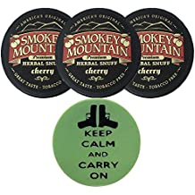 Smokey Mountain Herbal Snuff/Chew - 3ct Cherry - Includes DC Skin Can Cover (Carry On Skin)