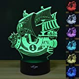 Pirate Ship VYI·ME Optical Illusion 3D LED Lamp Boat Shapes Children Bedroom Night Light