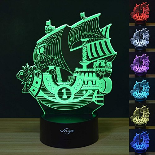 Pirate Ship VYI·ME Optical Illusion 3D LED Lamp Boat Shapes Children Bedroom Night Light by VYI.ME