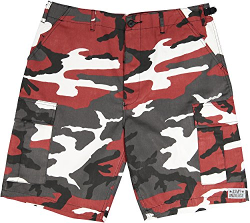 Red Camo Shorts - Army Universe Red Camouflage Military BDU Cargo Shorts Pin Size Large (Waist 35-39