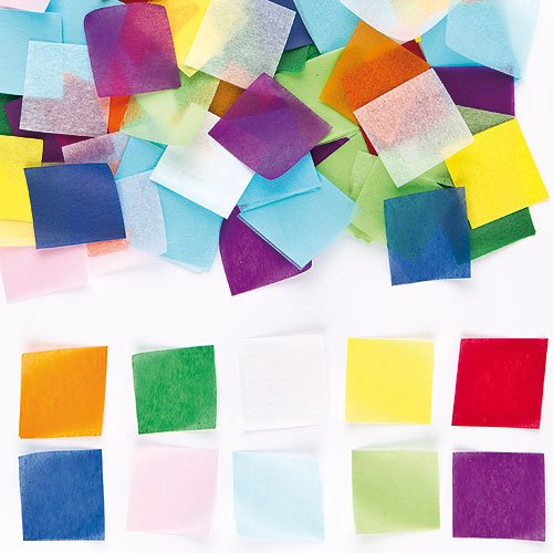 Baker Ross Colored Mini Tissue Squares 10 Assorted Colors, 1.5 x 1.5 Inch Kids Craft Activities, Card Making, Scrapbooking (Pack of 4000)