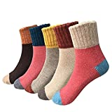 Holisouse Women's 5-Pairs Casual Vintage Style Winter Thick Knit Wool Warm Soft Crew Socks (candy)
