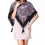Pinky Kiss Russian Style Folk Floral Print Fringe Sides Square Scarf Shawl 92x92CM