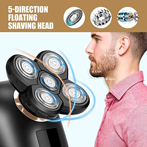 Electric Mens Shaver Razor,Cosyonall 5 in 1 Shaver Trimmer Grooming,Cordless Rotary Hair Clippers for Bald Head with 5D Floating 5 Razor Head,LED Display,IPX7 Waterproof,Quick USB Rechargeable