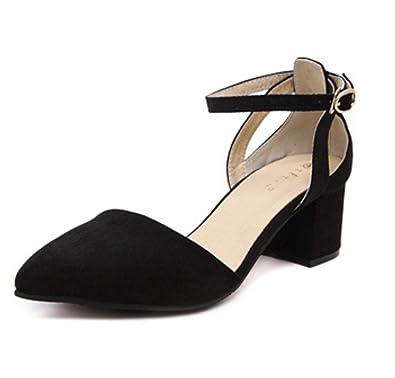 1dfeecf4bd18 DADAWEN Women s Pointed Toe Ankle-Strap Buckle Pumps Mid Block Heel Court  Shoes-Black