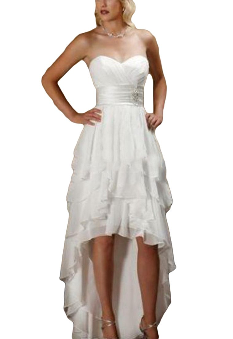 VikDressy Women's High Low Sweetheart Country Wedding Dresses Chiffon Ruffles Beach Bridal Gowns