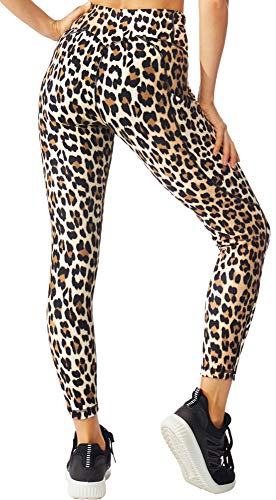 FITTIN Leopard Printed Yoga Leggings for Women with Pocket - for Running Sports Fitness Gym Brown Large