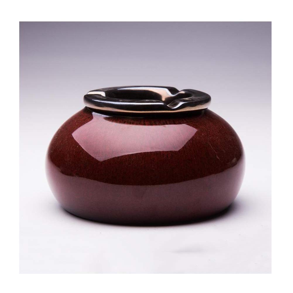Exquisite Ashtrays for Cigarettes Windproof Ashtray with Lid Ceramic Retro Fashion Ashtray,Desktop Home Office Decoration,Ashtrays Suitable for Indoor and Outdoor Patio Use,5.512.753.15in by H-ashtray