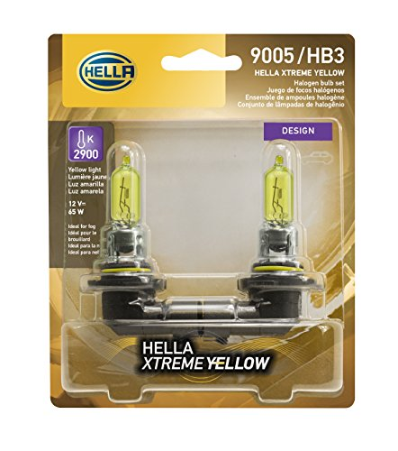 HELLA 9005 Yellow-65W YL Xtreme Yellow Bulbs, 12V, 65W, 2 Pack