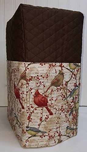 Quilted Birds & Berries Large Blender Cover (Chocolate Brown) - Quilted Blender Appliance Cover