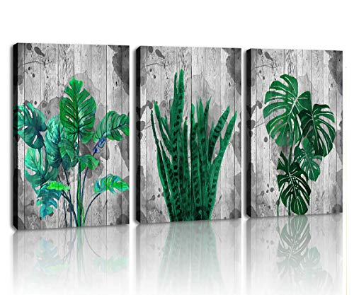 Canvas Wall Art Green Leaf Simple Life Tropical Monstera Leaves Watercolor Painting of Palm Banana Wall Decor for Bathroom Living Room Bedroom Ready to Hang
