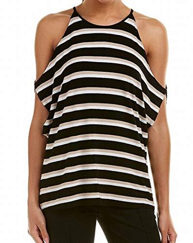 Vince Camuto Womens Desert Stripe Cold-Shoulder Dolman Top Rich Black XS One (Shoulder Dolman Top)