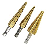 3Pcs Step Drills HSS Hexagonal Drill for Drilling English System 3/16-1/2, 1/4-3/4, 1/8-1/2''