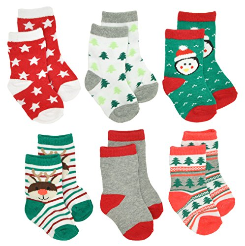 Gertex Baby First Christmas Holiday Socks Gift Box 6 Pack (Pack A) Christmas Stocking Sock