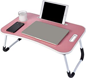 Laptop Desk, Portable Laptop Bed Tray Table, Notebook Stand Reading Holder,Couch Table,Bed Desk with Handle for Reading Book, Eating, Working, Writing, Gaming, Drawing (Pink)