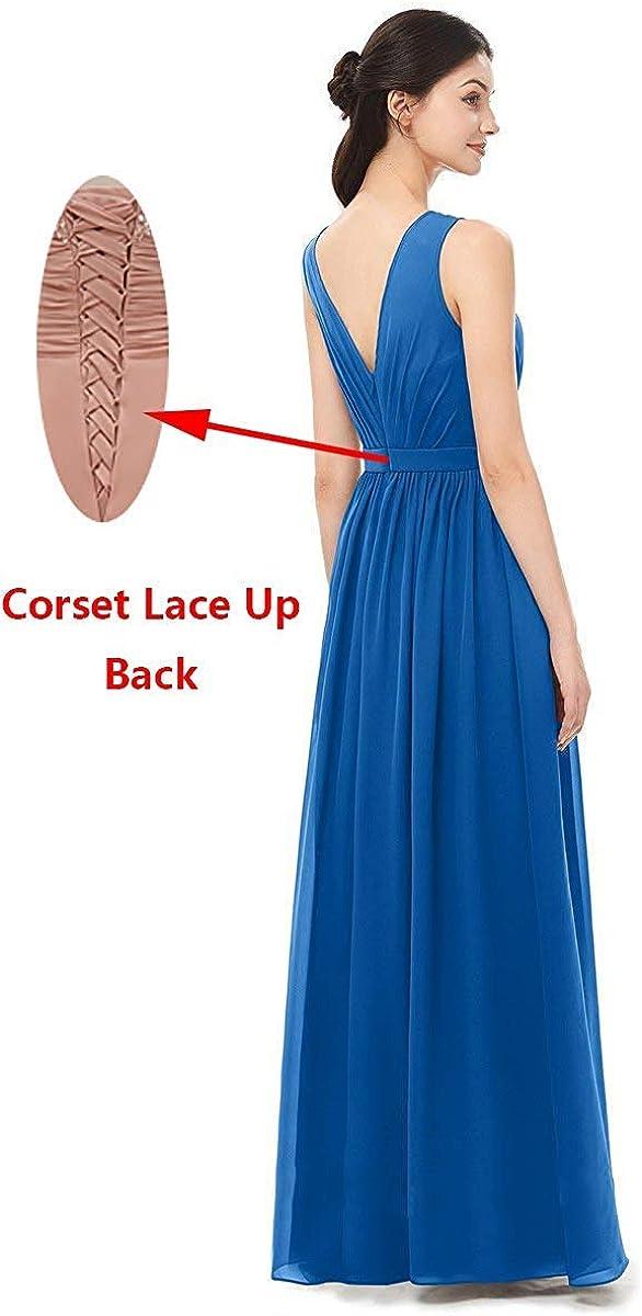 Lamosi Long Slit Bridesmaid Dress Scoop Sleeveless Pleats Chiffon Evening Prom Gowns Dark Gray