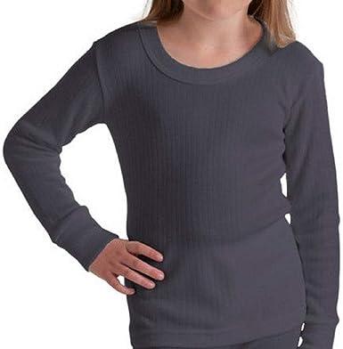 1x Unisex Children Kids Thermal Underwear Long Sleeve T-Shirt Top Warm Vest 1x White Full Sleeve, 9-11 Years