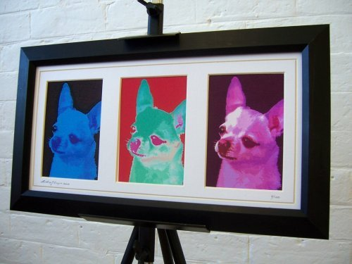 Chihuahua Limited Edition Framed Canvas Triple Art Print by artcandi ()