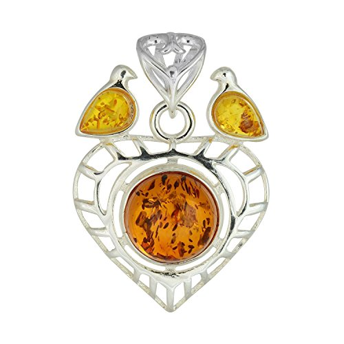 Heart Honey Amber (HolidayGiftShops Sterling Silver and Baltic Honey Amber Heart Pendant)