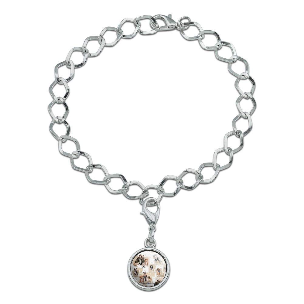 GRAPHICS /& MORE Cool Dudes Dogs in Outfits Silver Plated Bracelet with Antiqued Charm