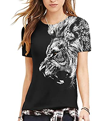 Cfanny Unisex Printed Short Sleeve Jersey Crewneck T-Shirt Top for Couple