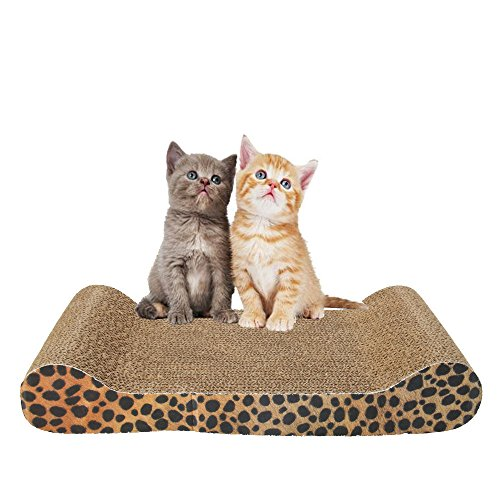 MicroMall Harden Corrugated Cat Toy Scratcher Bed Pad Corrugated Board with Catnip