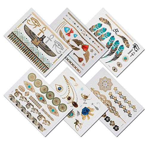 TempiTats - Cleopatra Goddess Temporary Metallic Henna Gold Tattoos Collection for Men & Women (6 Sheets). Trendy Festival Accessories and Great for Bachelorette, Birthday or Costume Parties]()