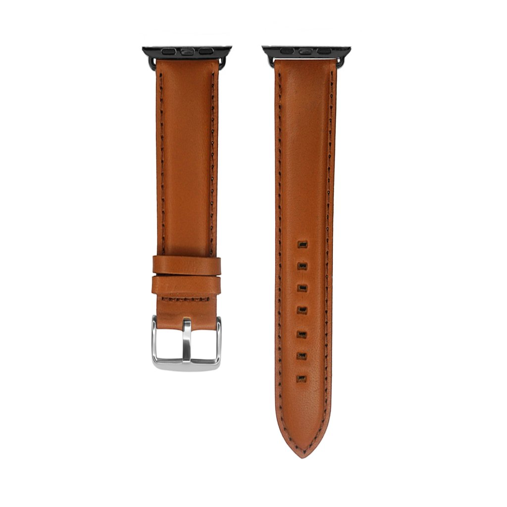 IVAPPON 42mm Extra Long Light Brown Genuine Leather Watch Band Replacement for Apple Watch 85x125mm Gun Black Adapter Silver Buckle