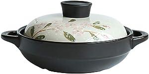 LIUSHI Ceramic Coated Casserole Dish with lid Flower Pattern Heat-Resistant Earthenware Pot Korean bibimbap Soup Pot Healthy Pot Black 1.05quart