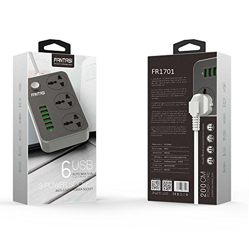 Power Strip with USB Ports Long Cord Universal Socket 3 Outlets Surge Protector 6 Quick USB (5V 3.4A 17W) Charging Station 6.5ft Power Cord 2500W Circuit Breaker Child Safe Door (Black) by Fantasi (Image #6)