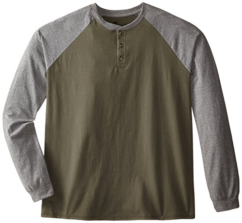 Hanes Men's Long Sleeve Raglan Henley, Camouflage Green/Oxford Gray, Large