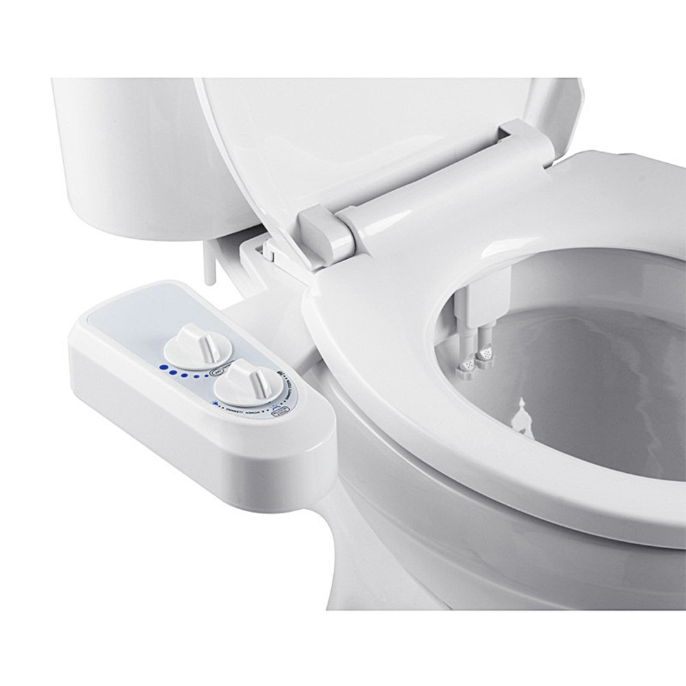 Xcellent Global Bidet Sprayer with Dual Self-Cleaning Nozzle Male & Female Non-Electric Mechanical Bidet Toilet Seat Attachment Adjustable Water Pressure DIY Easy Install (Cold Water Only) HG272