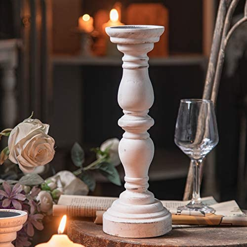 "Farmhouse Antique Candle Holder for Pillar Candle, Vintage White Wooden Pillar Candle Holder, Rustic Candlestick Holder for Dining Table, Coffee Table, Or Any Table Top (1Piece, 4.7"" x 4.7"" x 13.6"")"