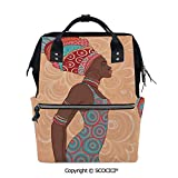 SCOCICI Large Couple Backpack handbag,Ethnic Tribal Woman in Native Clothes Savannah Trends Bohemian Culture Art Image,Multi Purpose Shoulder Backpack