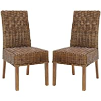 Safavieh Home Collection Aubrey Antique Walnut Wicker Side Chair, Set of 2