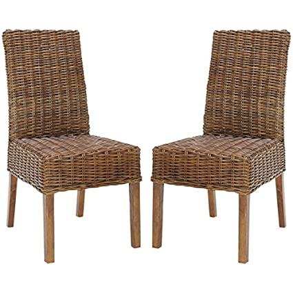 Safavieh Home Collection Aubrey Antique Walnut Wicker Side Chair, Set of 2 - Amazon.com - Safavieh Home Collection Aubrey Antique Walnut Wicker