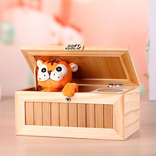 (DSstyles Wooden Useless Box Leave Me Alone Box Most Useless Machine Don't Touch Tiger Toy Gift with Sound)