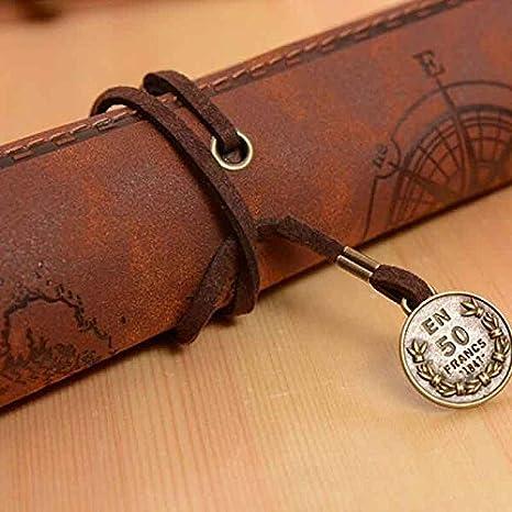 Treestar 1PCS Pencil Case personalizzata matite Caraibi in pelle stile vintage mappa del tesoro regalo creativo ufficio borsa scuola ragazzi ragazze
