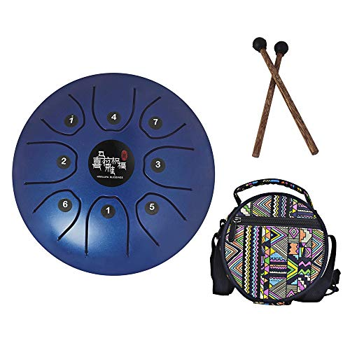 Mowind Steel Tongue Drum Tank Drum C Key 8 Notes 5.5 Inch Percussion Instrument with Drum Mallets Carry Bag Blue by Mowind