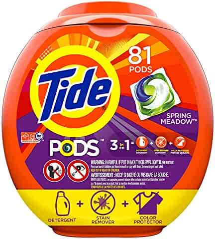 Tide PODS 3 in 1 HE Turbo Laundry Detergent Pacs, Spring Meadow Scent, 81 Count Tub - Packaging May Vary