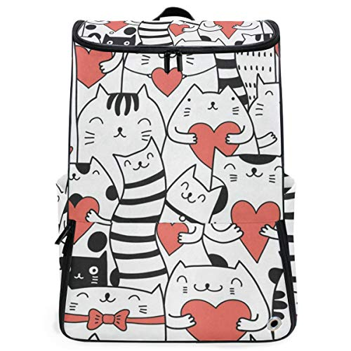 (Laptop Backpack Cats With Hearts Kitty Kitten Gym Backpack for Women Large Picnic Bag)