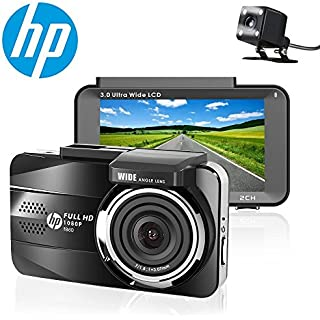 Sale Off HP Dual Dash Cam Full HD 1080P Front and Rear Dashboard Camera Recorder with Sony Sensor 3.0'' Screen Super Night Vision 155 Wide Angle Lens WDR Parking Monitor