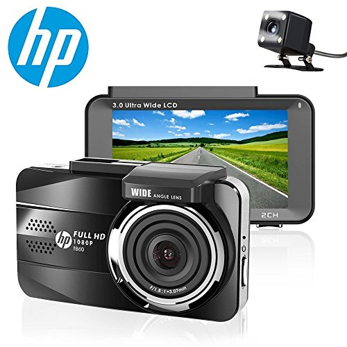 HP Dual Dash Cam Full HD 1080P Front and Rear Dashboard Camera Recorder with Sony Sensor, 3.0 Screen, Super Night Vision, 155 Wide Angle Lens, WDR, Parking Monitor