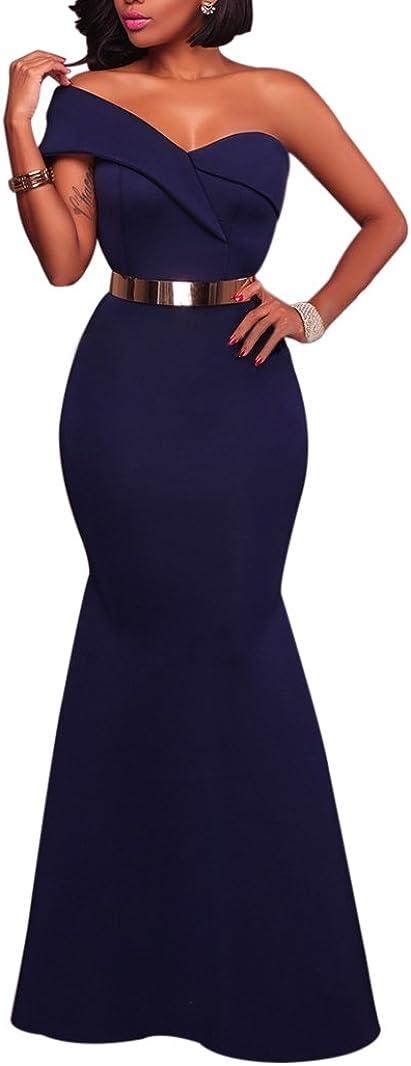 Grace's Secret Women's Sexy One Shoulder Ponti Gown Mermaid Evening Maxi Party Dress