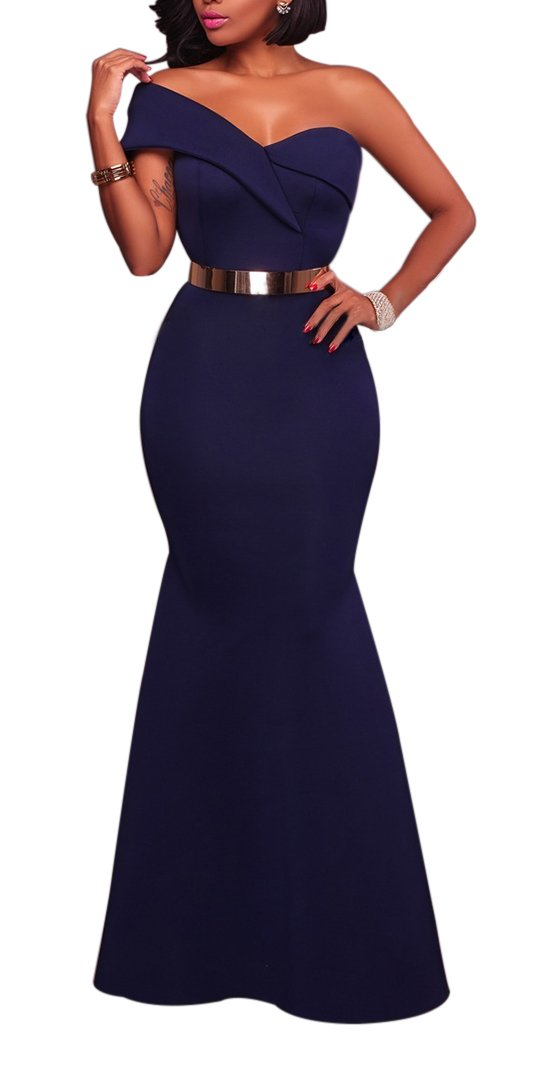 Women's Sexy One Shoulder Ponti Gown Mermaid Evening Maxi Party Dress Navy Blue L