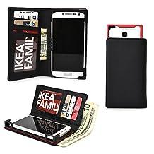 Cooper Cases(TM) PIX Samsung Galaxy Core LTE /Lite LTE /Advance /Prime Smartphone Wallet Case in Black (Sliding Frame for Rear-camera Access; Credit Card Slots & Slip Pockets; Billfold)
