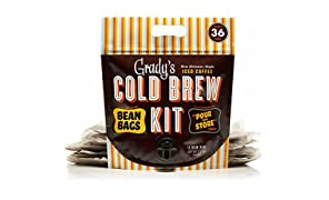 Grady's New Orleans Style Cold Brew Coffee, Cold Brew Kit with 12 bean bags, Regular