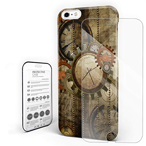 Mechanical Phone Case for iPhone 6/6s Case Cover, Retro Steampunk Clocks and Gears Technology, Protective Shockproof Anti-Scratch Back Case with Tempered Glass Screen -