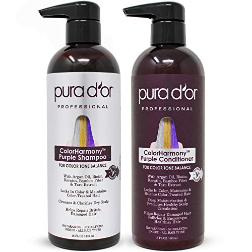 PURA D'OR Professional Grade Purple Biotin ColorHarmony Shampoo & Conditioner Set (16oz x 2) Blonde, Silver & Color Treated Hair - Keratin, Bamboo Fiber, Sulfate Free, Natural Ingredients: Men & Women (Best Shampoo And Conditioner For Blonde Color Treated Hair)